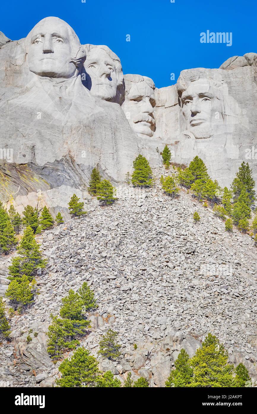 Mount Rushmore National Memorial in una giornata di sole, il Dakota del Sud, Stati Uniti d'America. Foto Stock