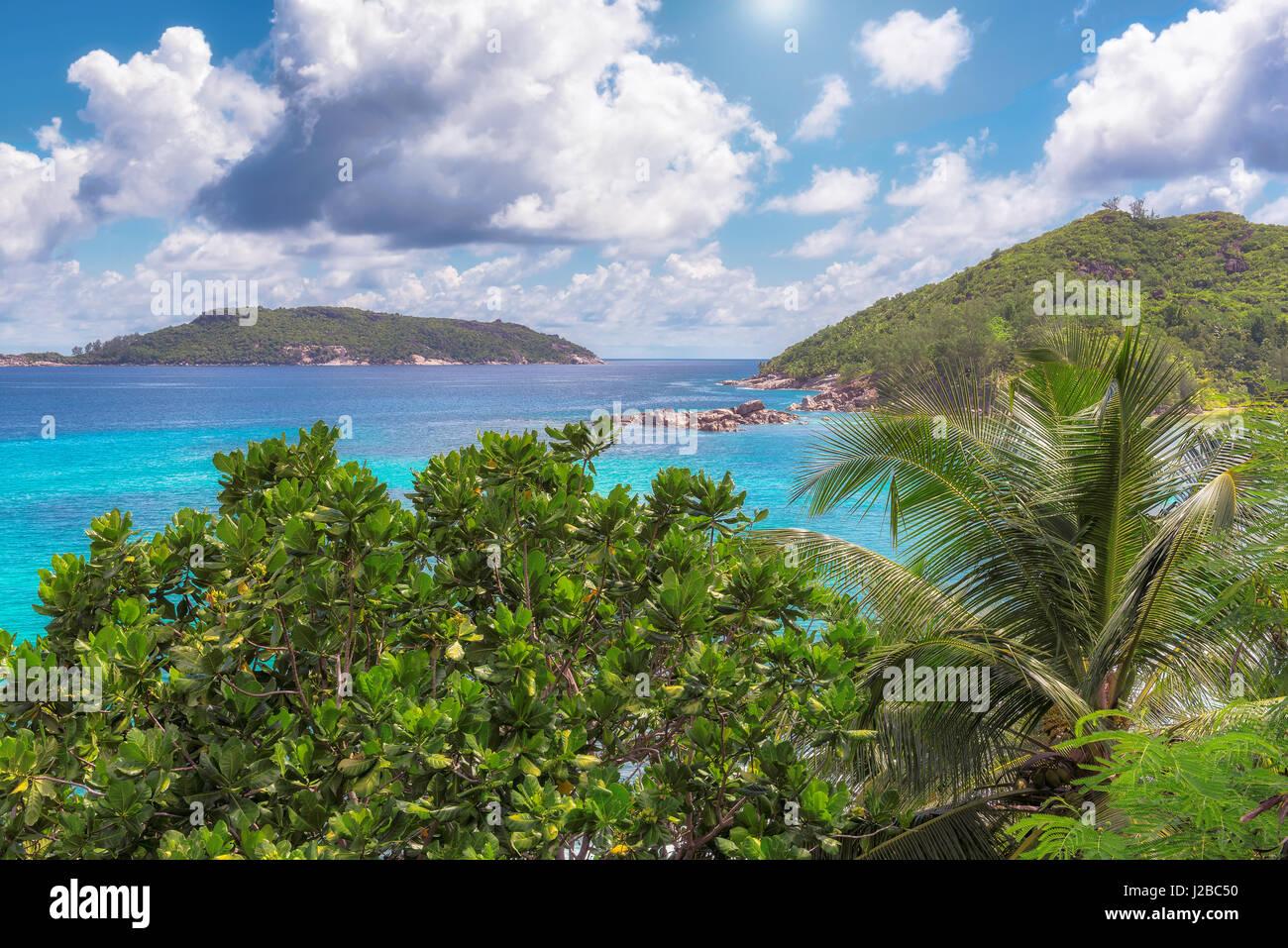 Vista la fantastica isola di Mahe, Seychelles. Foto Stock