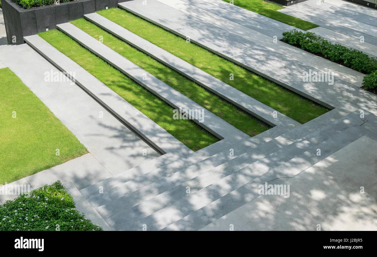 Architettura Del Verde scala con il verde erba e ghiaia texture ,l'architettura del