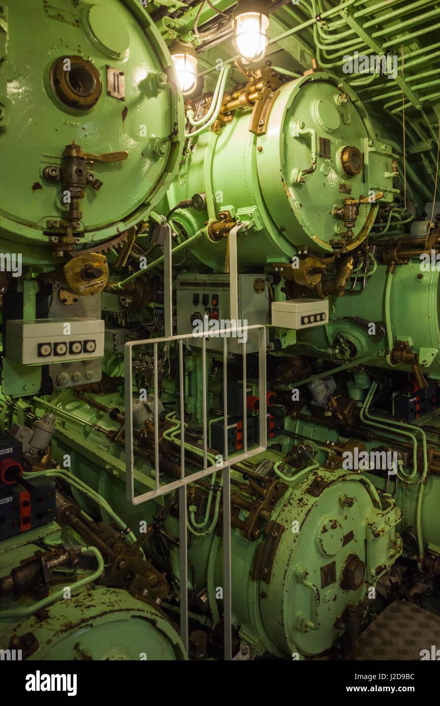 Danimarca, Langeland, Bagenkop, Langelandsfort Cold War Museum, guerra fredda artefatti a ex base NATO, sottomarino Immagini Stock