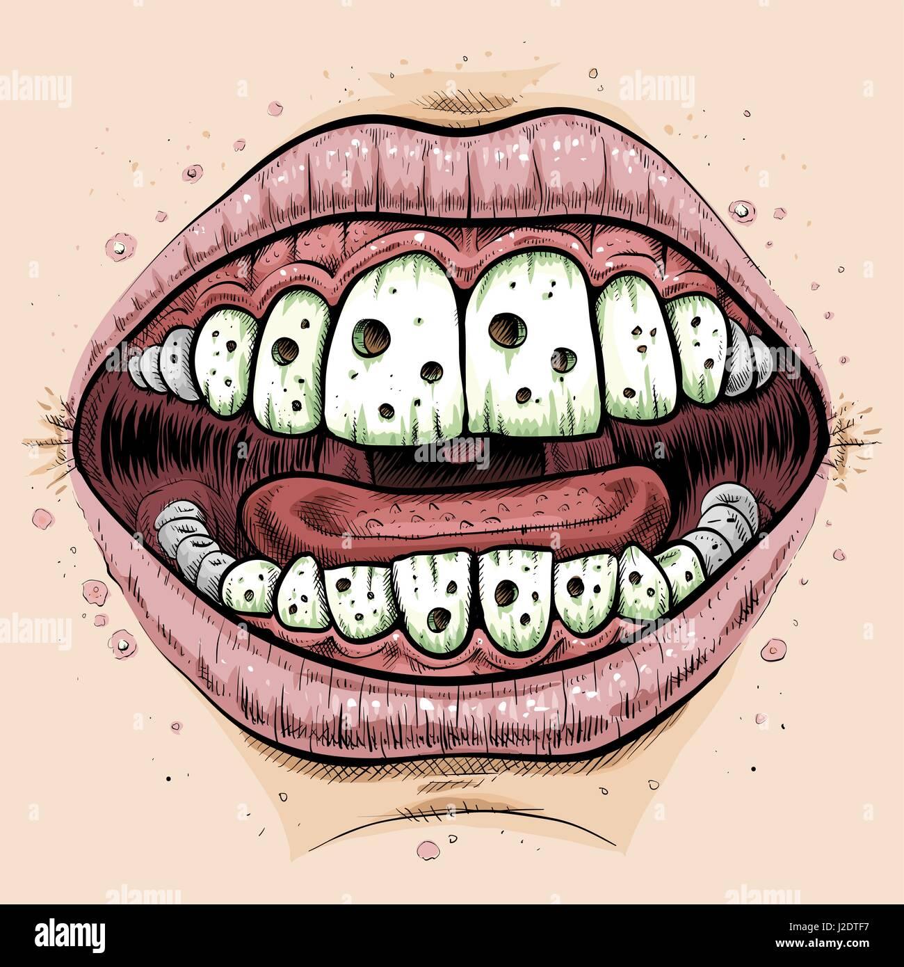 Una chiusura di un cartone animato in bocca con i denti con un sacco