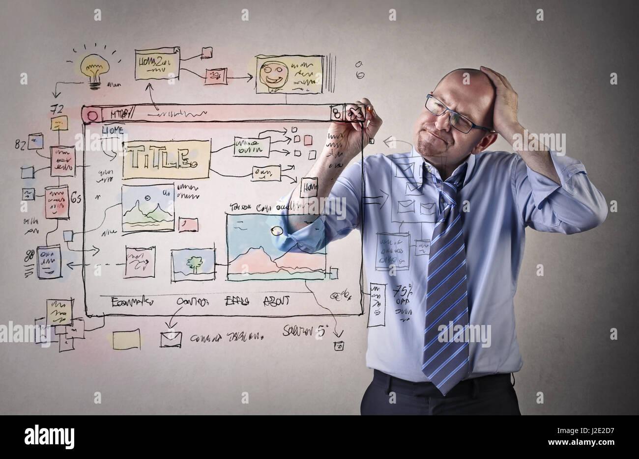 Imprenditore cosa e pianificazione per il disegno e la scrittura Immagini Stock