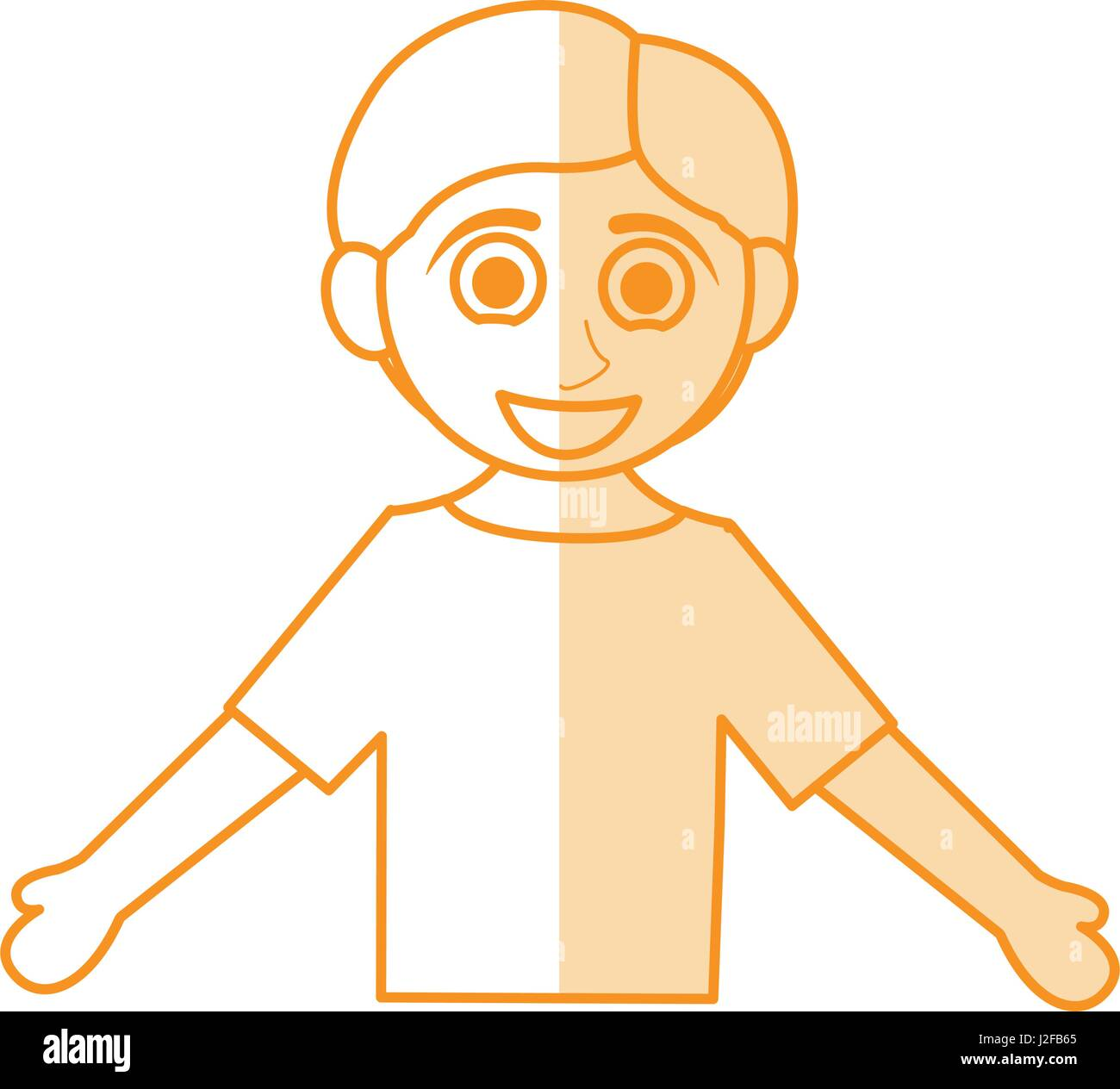 Silhouette orange shading caricatura mezzo corpo ragazzo con le braccia aperte verso il basso Immagini Stock