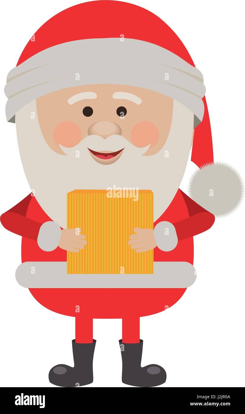 Silhouette Colorato Di Babbo Natale Con Il Pacchetto Illustrazione