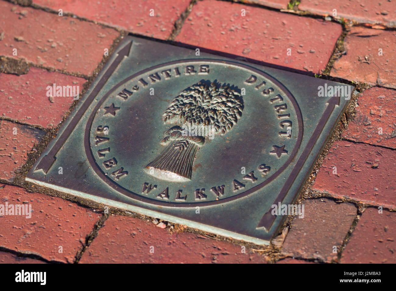 Stati Uniti d'America, Massachusetts, Salem, mcintyre Historic District, marciapiede segno Immagini Stock