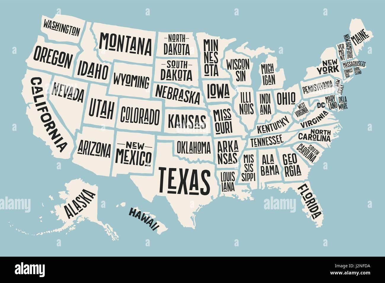 Cartina Mondo Con Nomi Stati.Mappa Poster Stati Uniti D America Con I Nomi Di Stato Immagine E Vettoriale Alamy