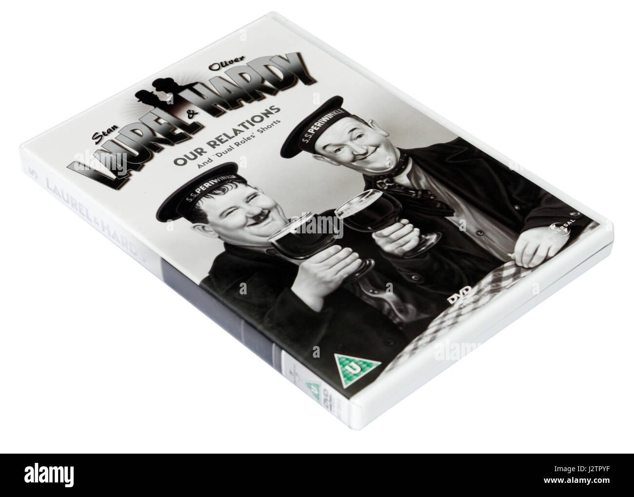 Le nostre relazioni: a Laurel e Hardy DVD di cortometraggi Immagini Stock