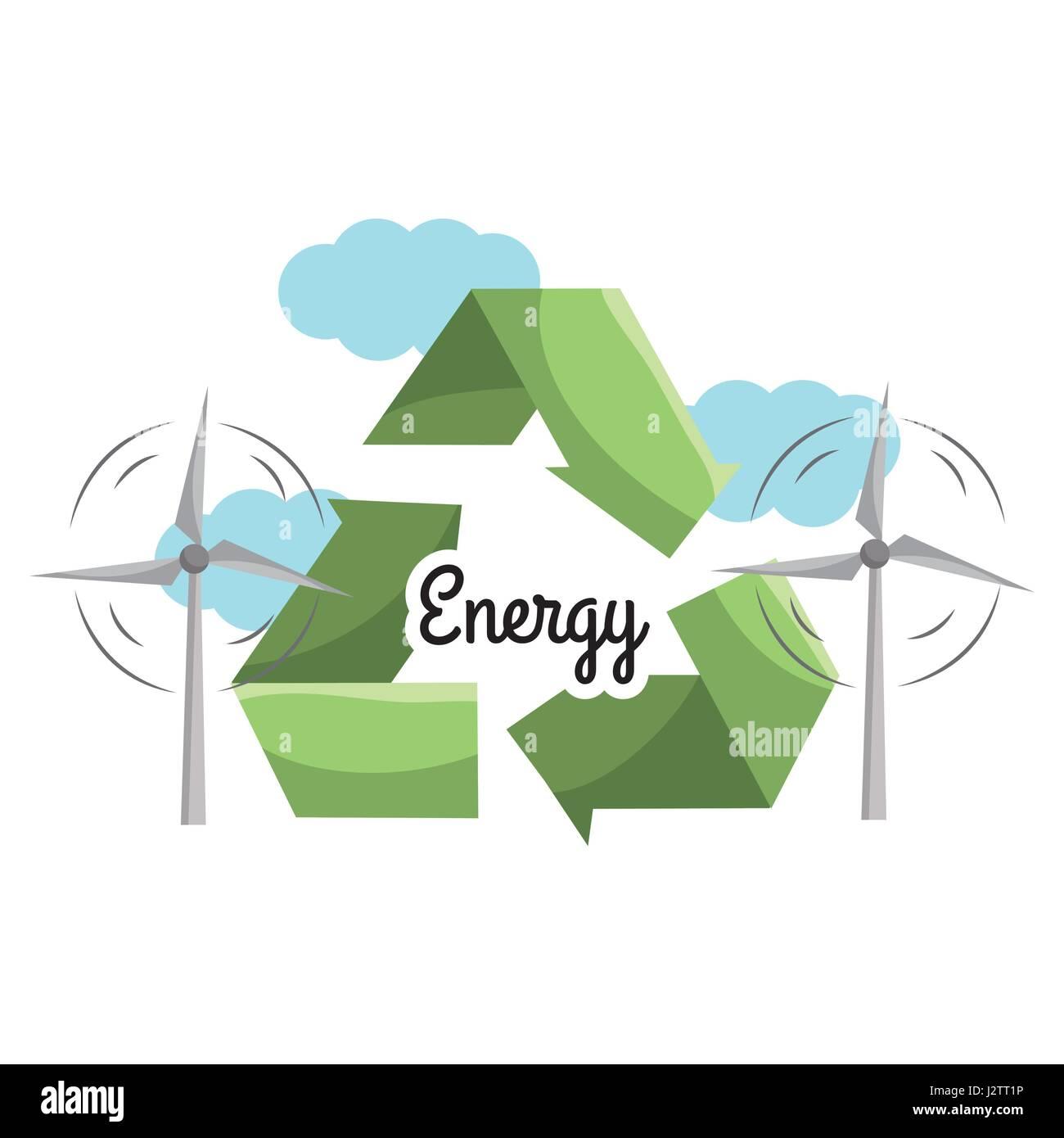 L energia eolica con ridurre, riutilizzare e riciclare il simbolo Immagini Stock