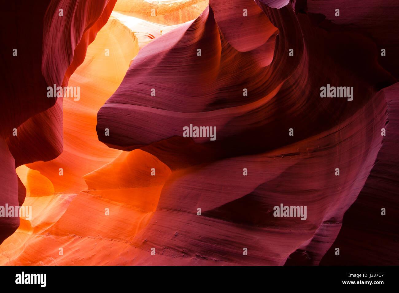 Pareti Viola E Giallo : Bizzarre forme antelope canyon pareti nel gioco sfumature luce e