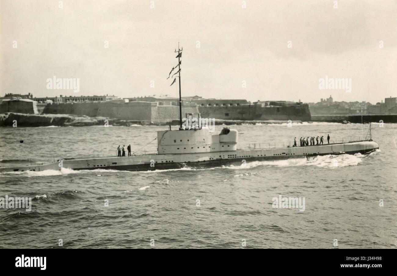 Sottomarino britannico Parthian-classe, Malta 1931 Immagini Stock