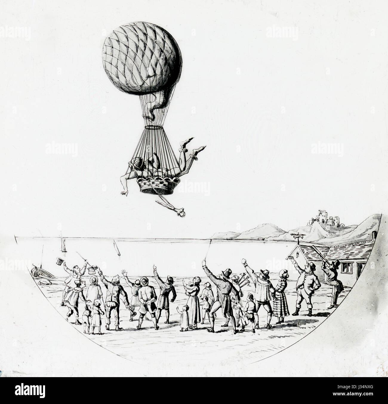 Antique c1800 immagine, un uomo di prendere il volo in mongolfiera, il picchetto e il cavo in ritardo, come la folla Immagini Stock