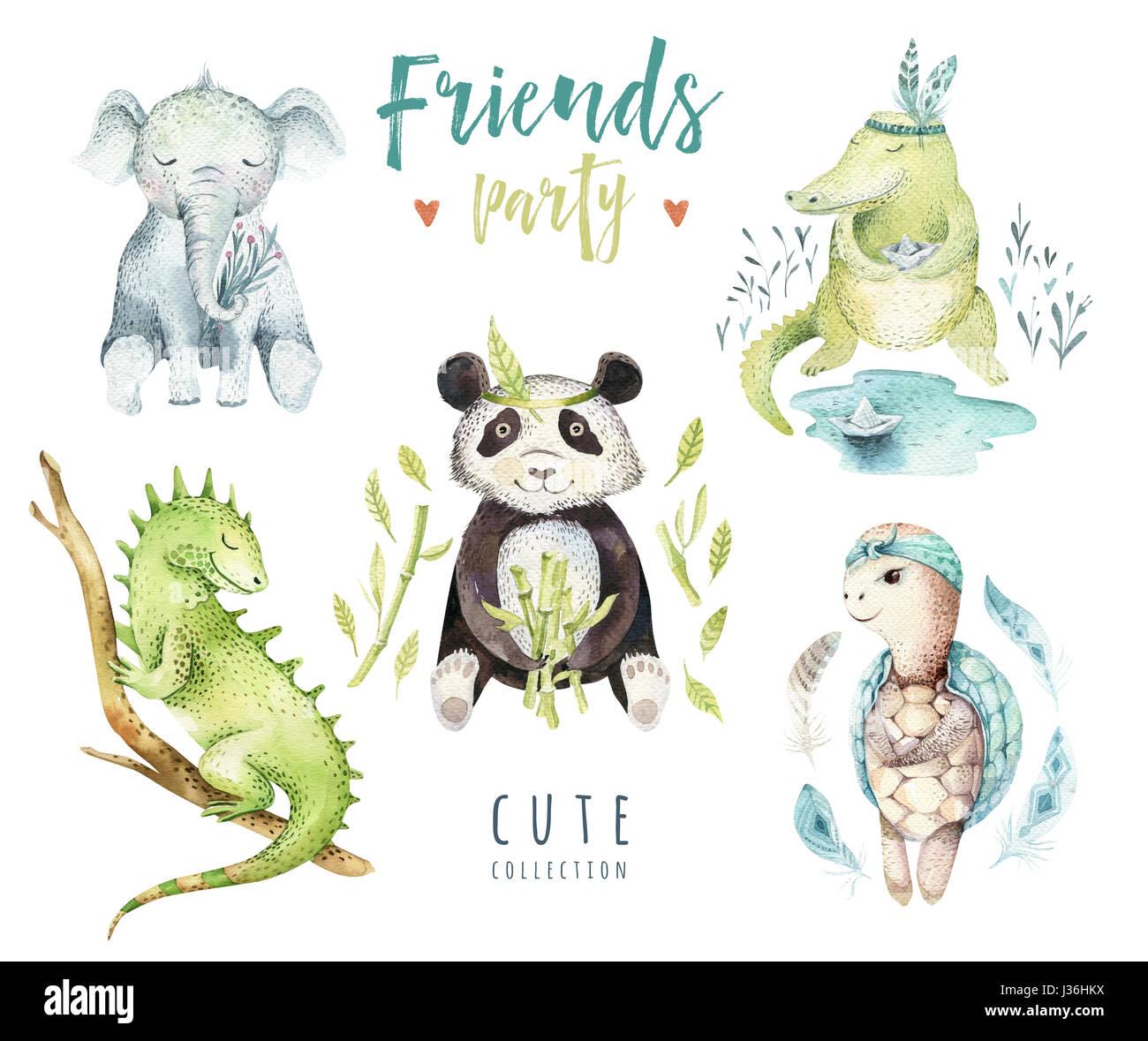 Baby Animali Isolati Di Vivaio Illustrazione Per Bambini Acquerello