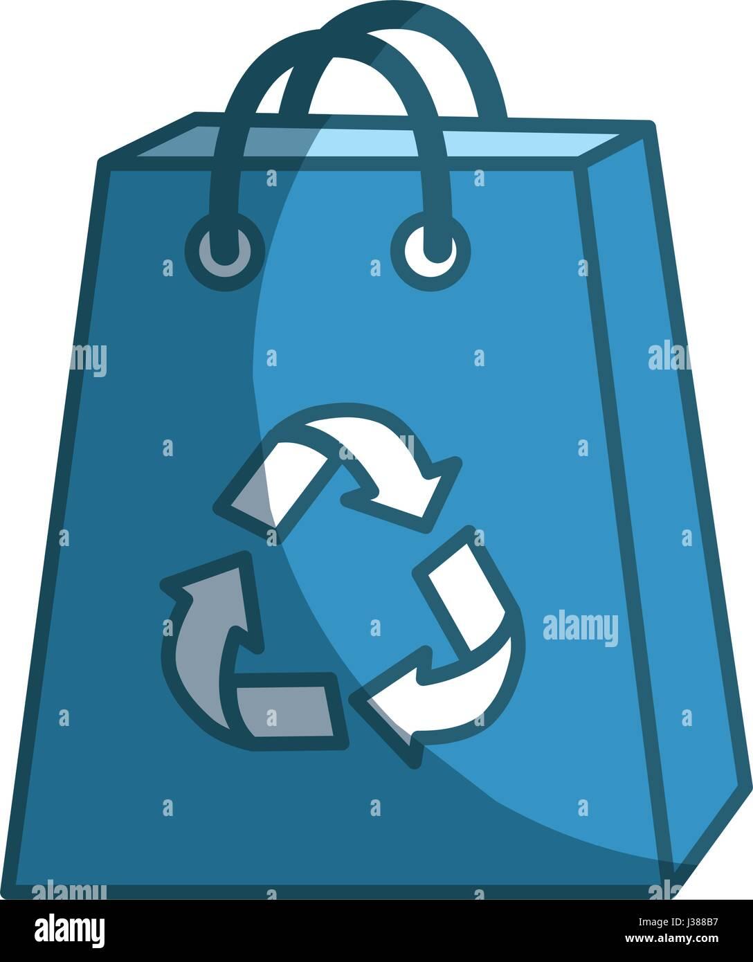 Borsa blu con ridurre, riutilizzare e riciclare il simbolo Immagini Stock