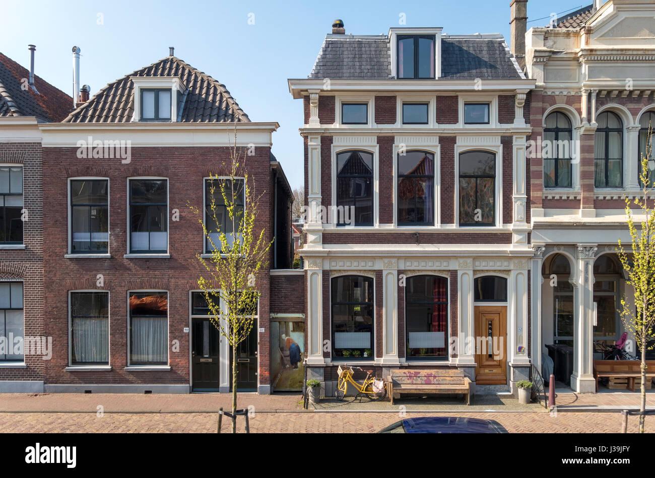 Delft Vermeer la piccola strada. Vlamingstraat 40 e 42 l'originale posizione esatta della piccola strada da Immagini Stock
