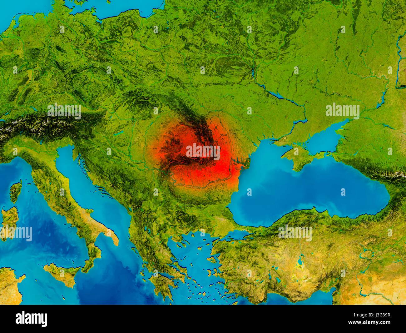 Cartina Geografica Fisica Della Romania.La Romania Ha Evidenziato In Rosso Sulla Mappa Fisica 3d Illustrazione Gli Elementi Di Questa Immagine Fornita Dalla Nasa Foto Stock Alamy
