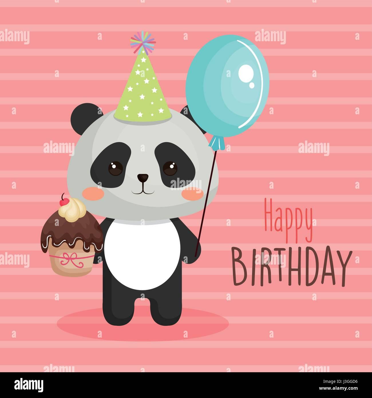 Buon Compleanno Card Con Tender Animale Illustrazione Vettoriale