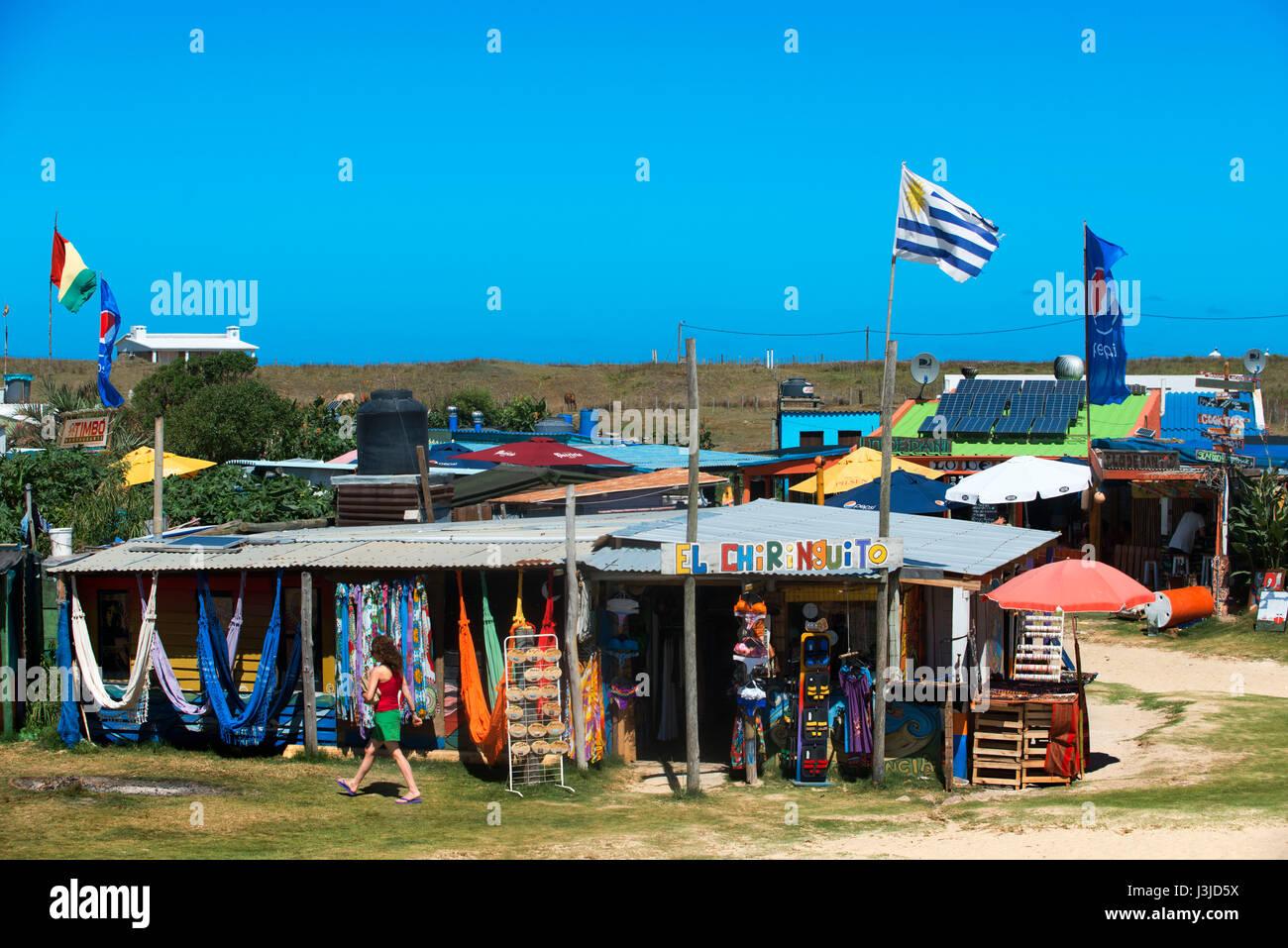 Hippie case e negozi in Cabo polonio, Rocha, Uruguay Immagini Stock