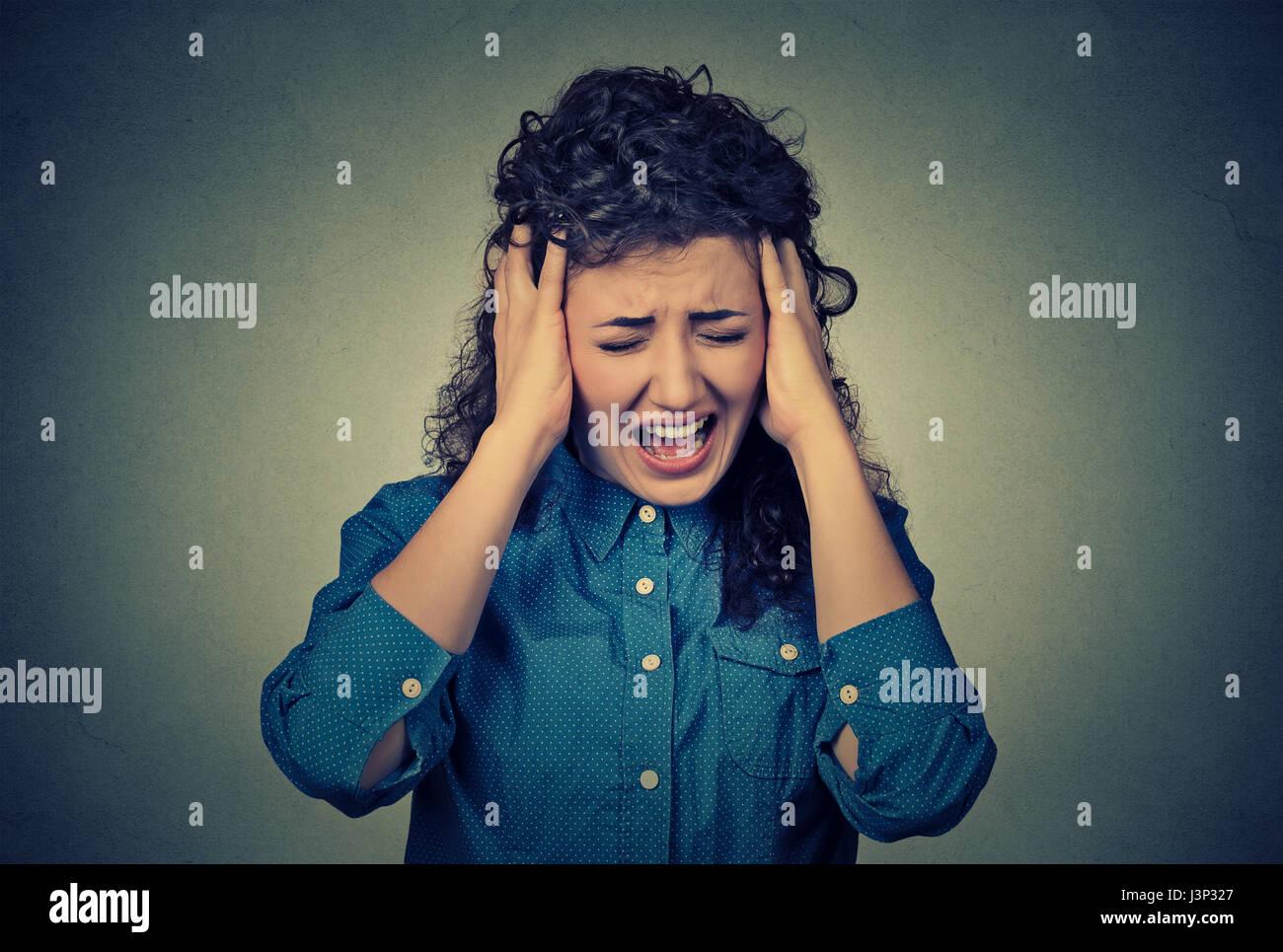 Donna che grida Immagini Stock