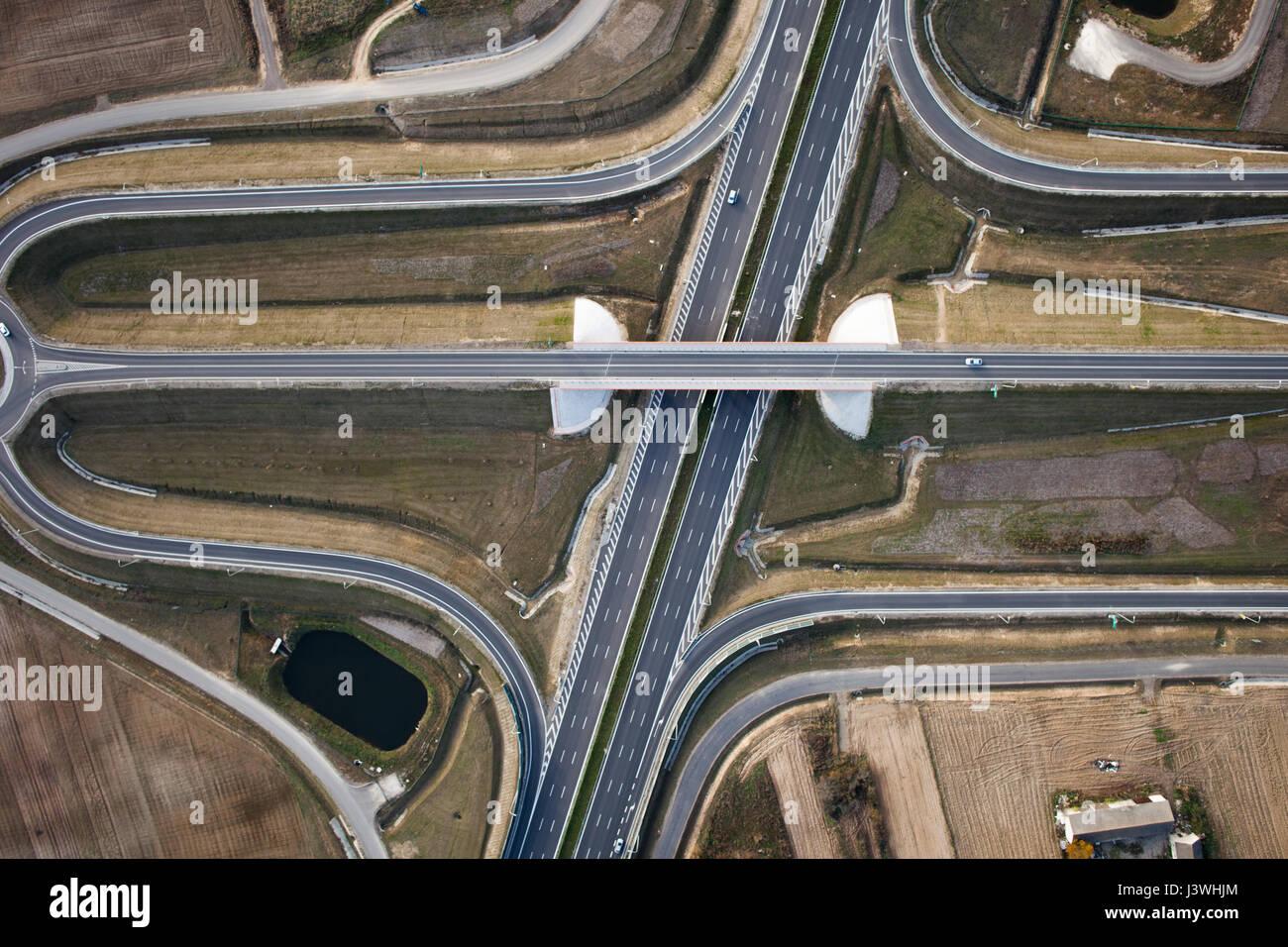 Intersezione delle autostrade top di vista Immagini Stock