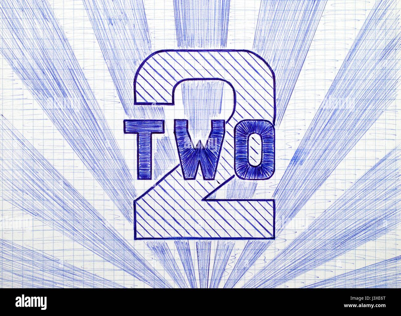 Il numero due sul foglio di carta a scacchi. Doodle stile. Immagini Stock