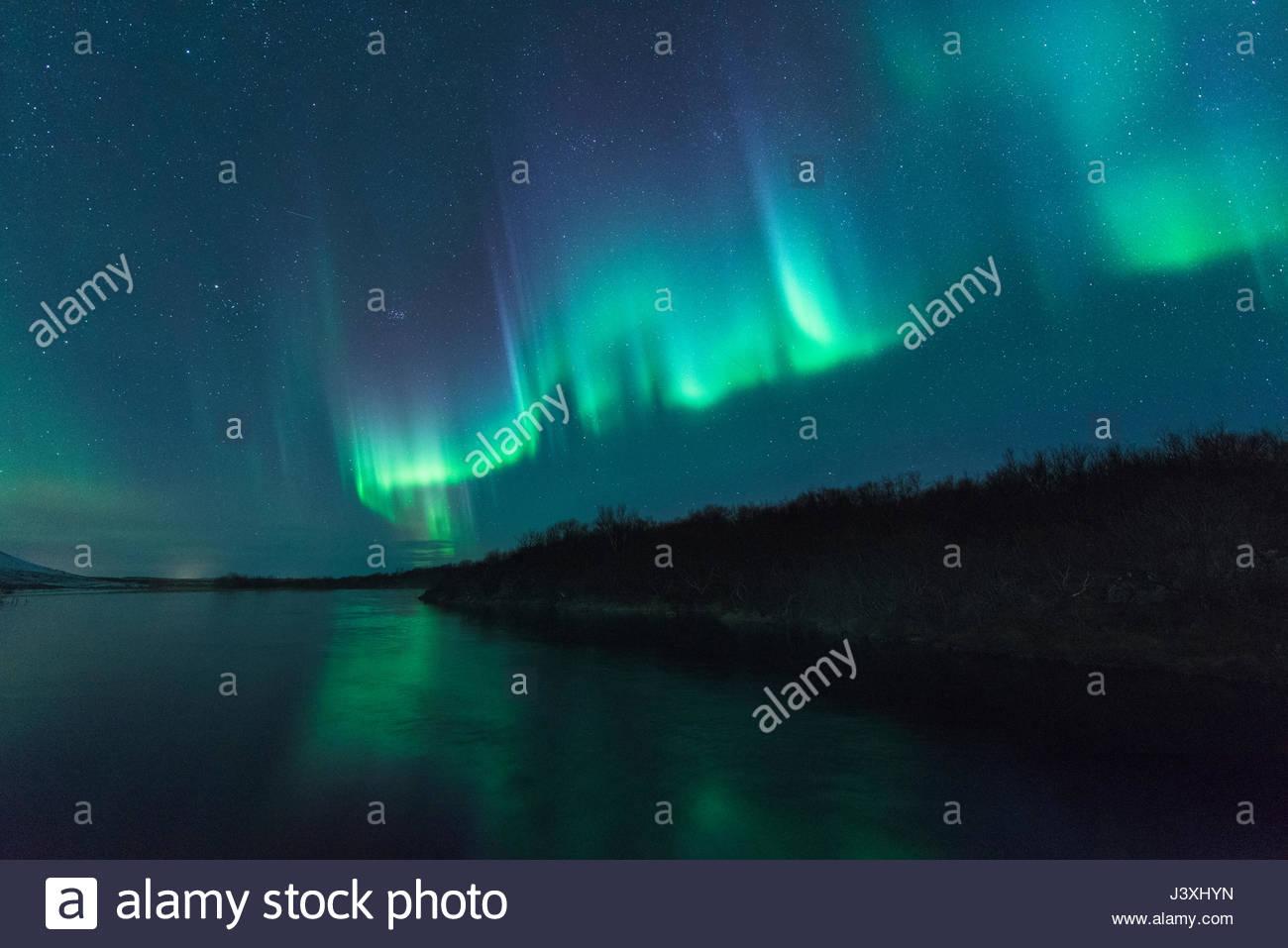 Luci del nord, Husafell, Islanda Immagini Stock