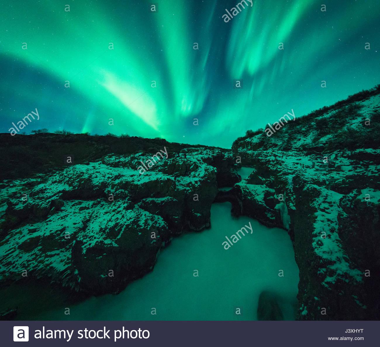 Northern Lights Barnafoss, Islanda Immagini Stock