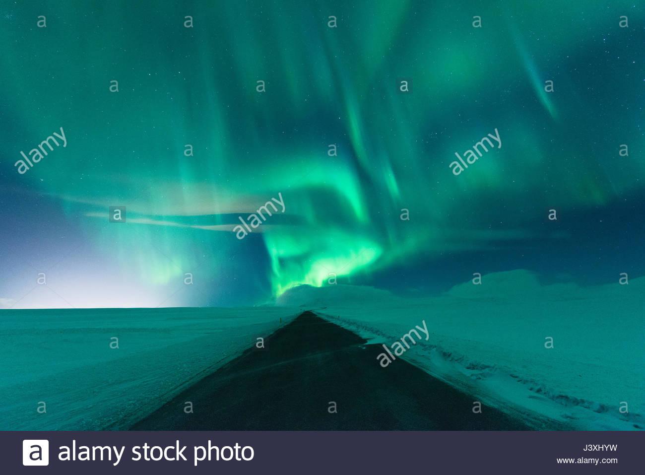 Northern Lights Mosfellsheidi, Islanda Immagini Stock