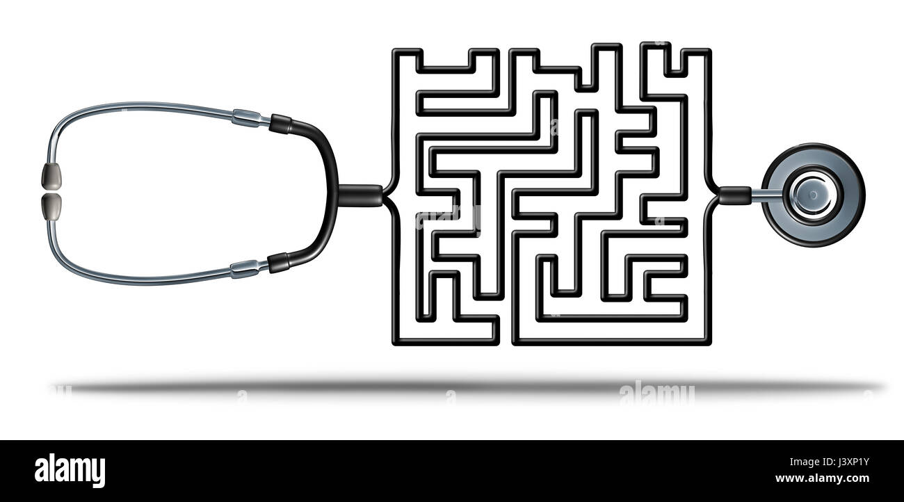 Risoluzione dei servizi sanitari e della riforma sanitaria sfide come un medico stetoscopio conformata come un complicato Immagini Stock