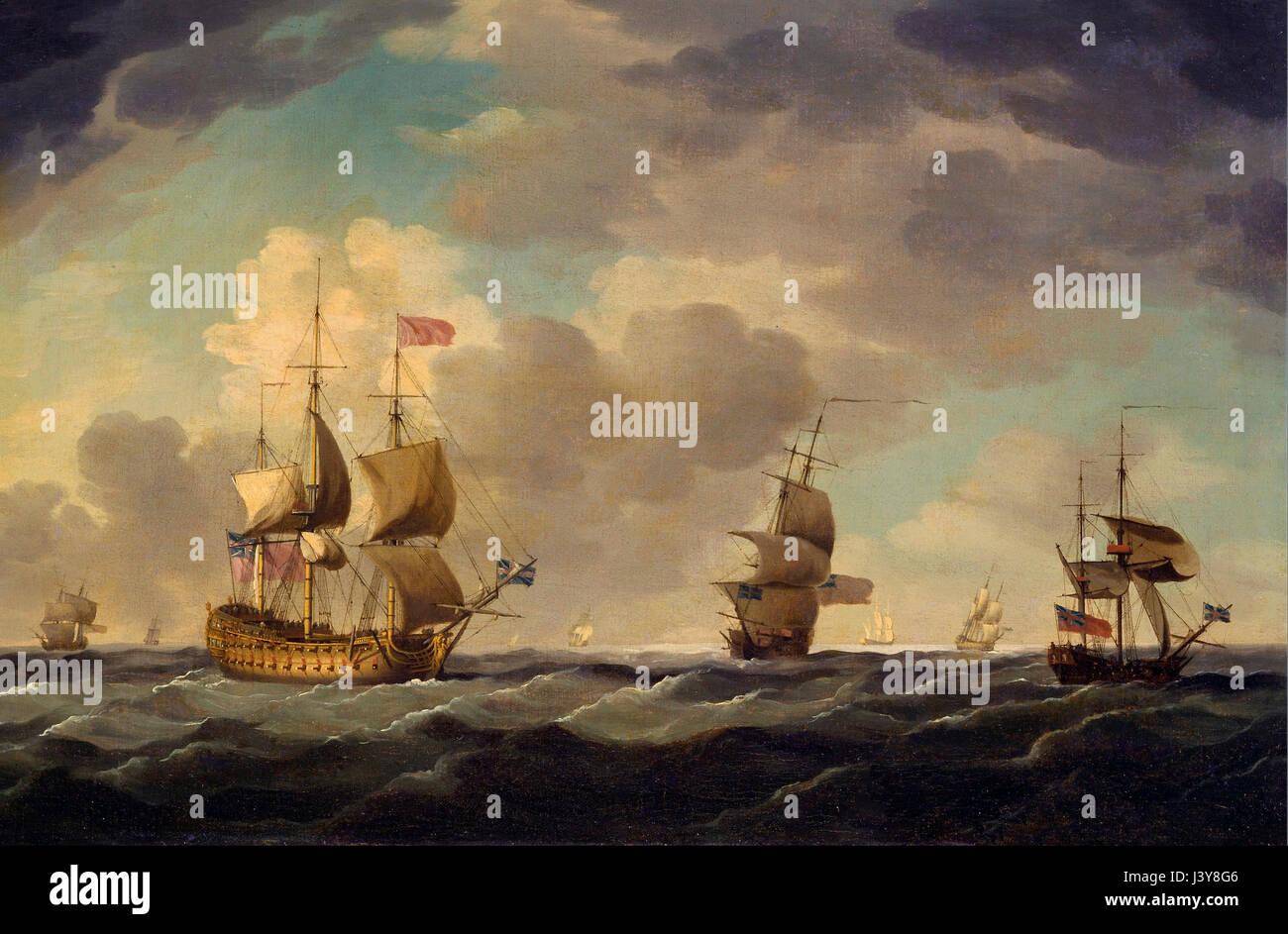 Una nave ammiraglia Inglese sotto facile navigare in una Brezza moderata - Charles Brooking - circa 1750 Immagini Stock