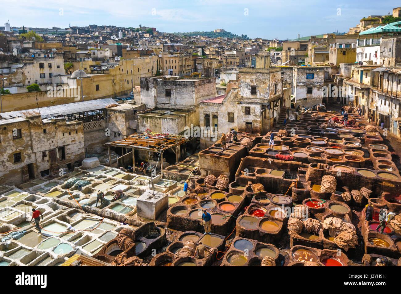 La conceria di Fez, Marocco Immagini Stock