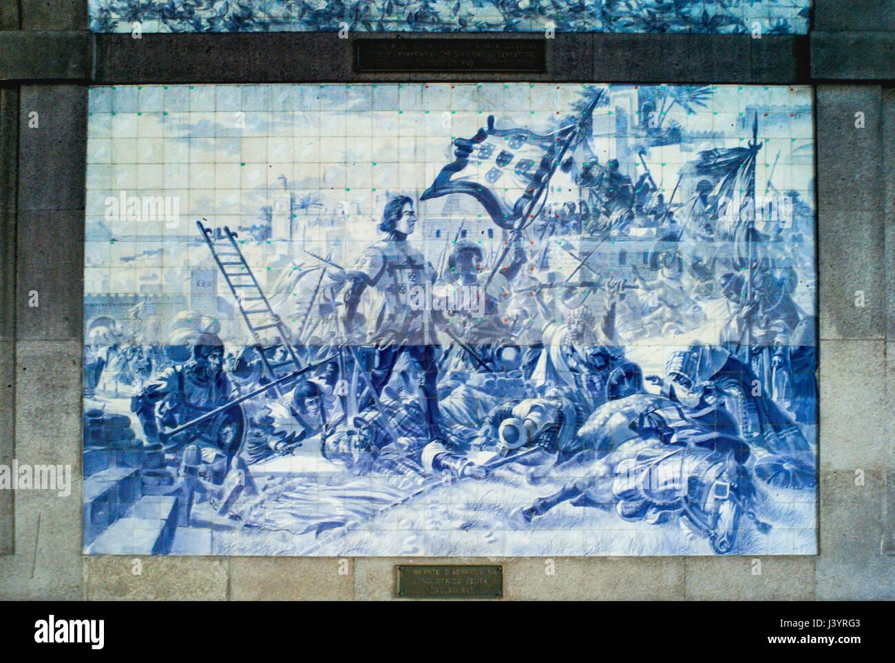 Murales in são bento stazione ferroviaria a porto portogallo. il