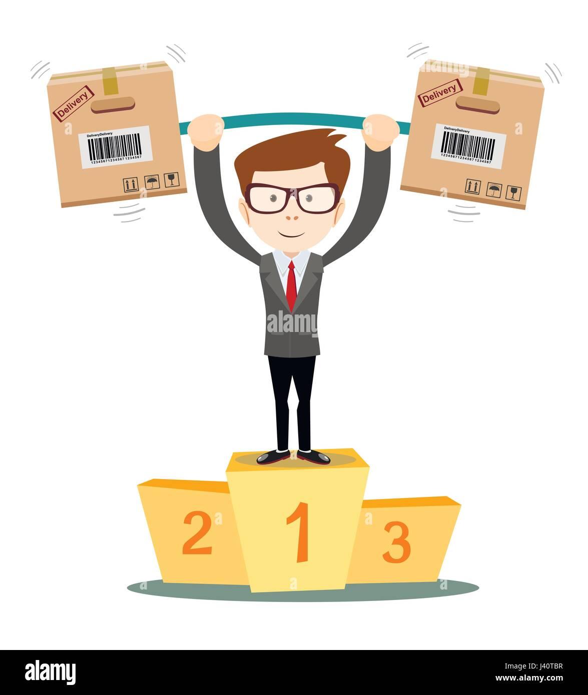 Servizio di consegna uomo con scatola vincente sul podio Immagini Stock