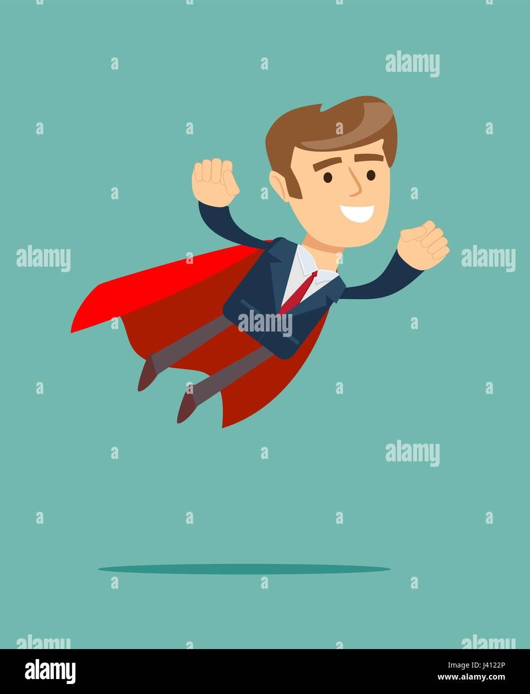 Imprenditore nel concetto di supereroi con coperchio rosso Immagini Stock