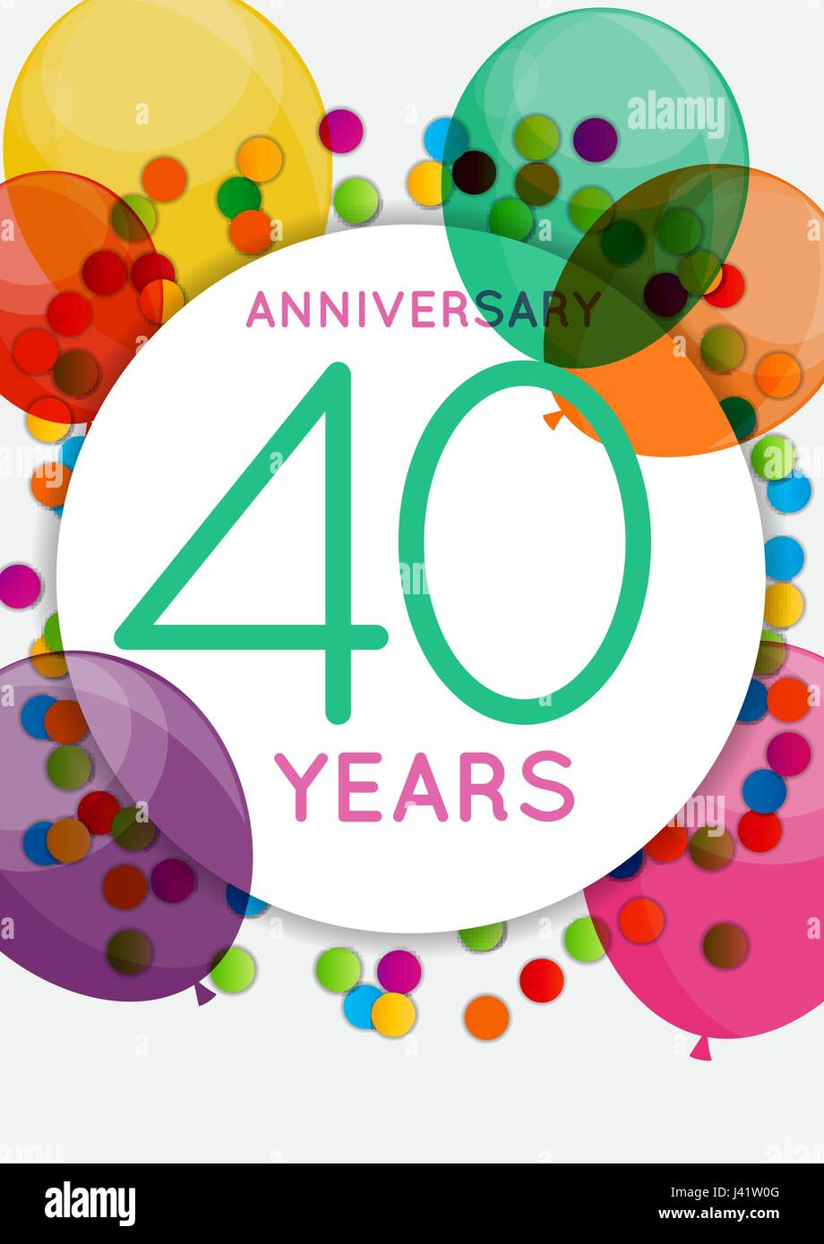 Auguri Anniversario Matrimonio 40 Anni.Modello 40 Anni Di Anniversario Congratulazioni Biglietto Di