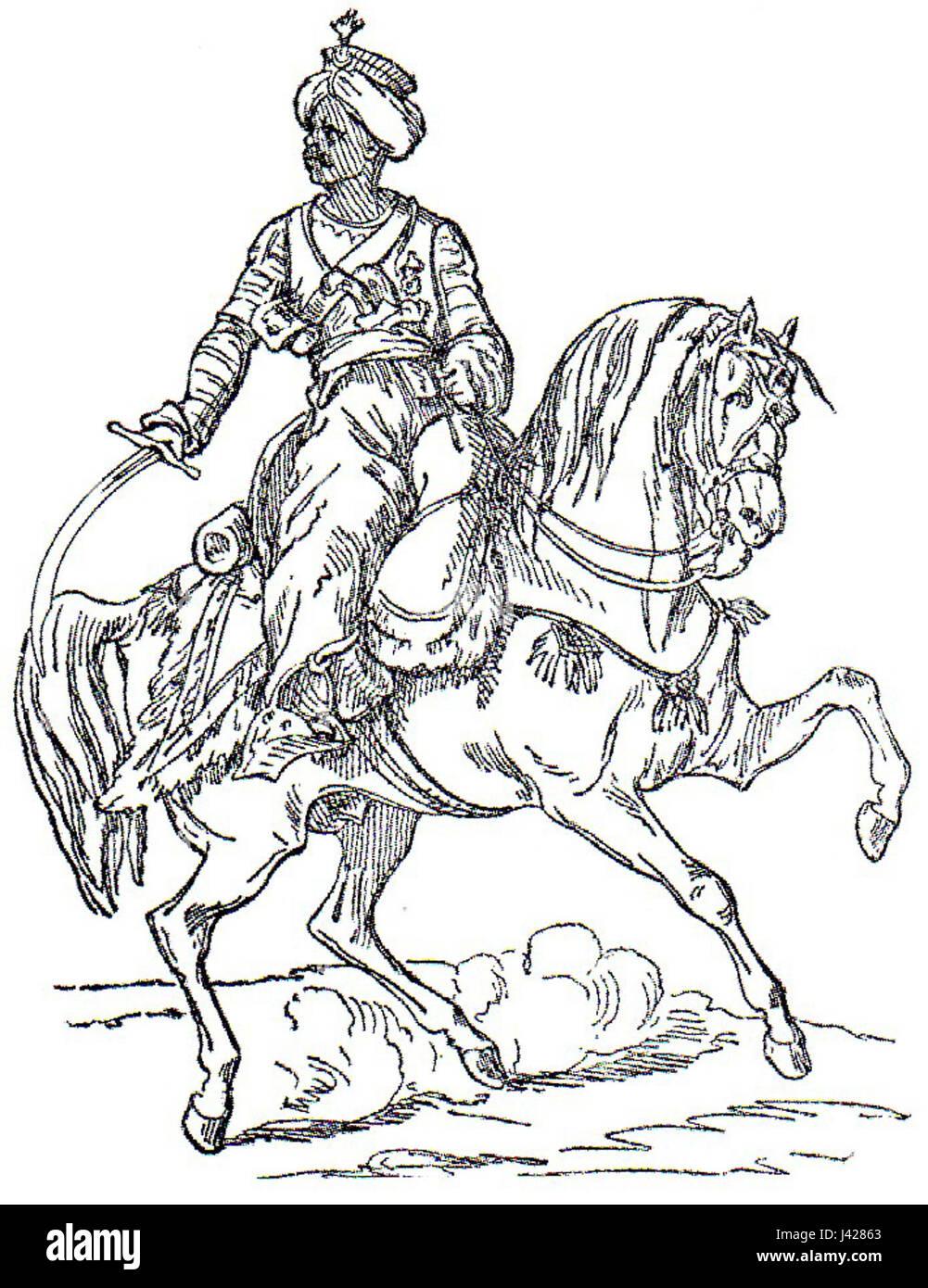 Mamelucco a cavallo della vecchia guardia Adolphe de Chesnel Foto Stock