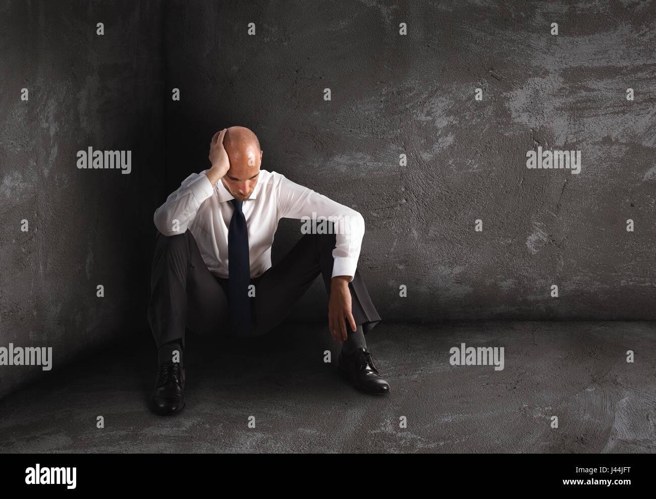 Solo imprenditore disperato. La solitudine e il concetto di errore Immagini Stock