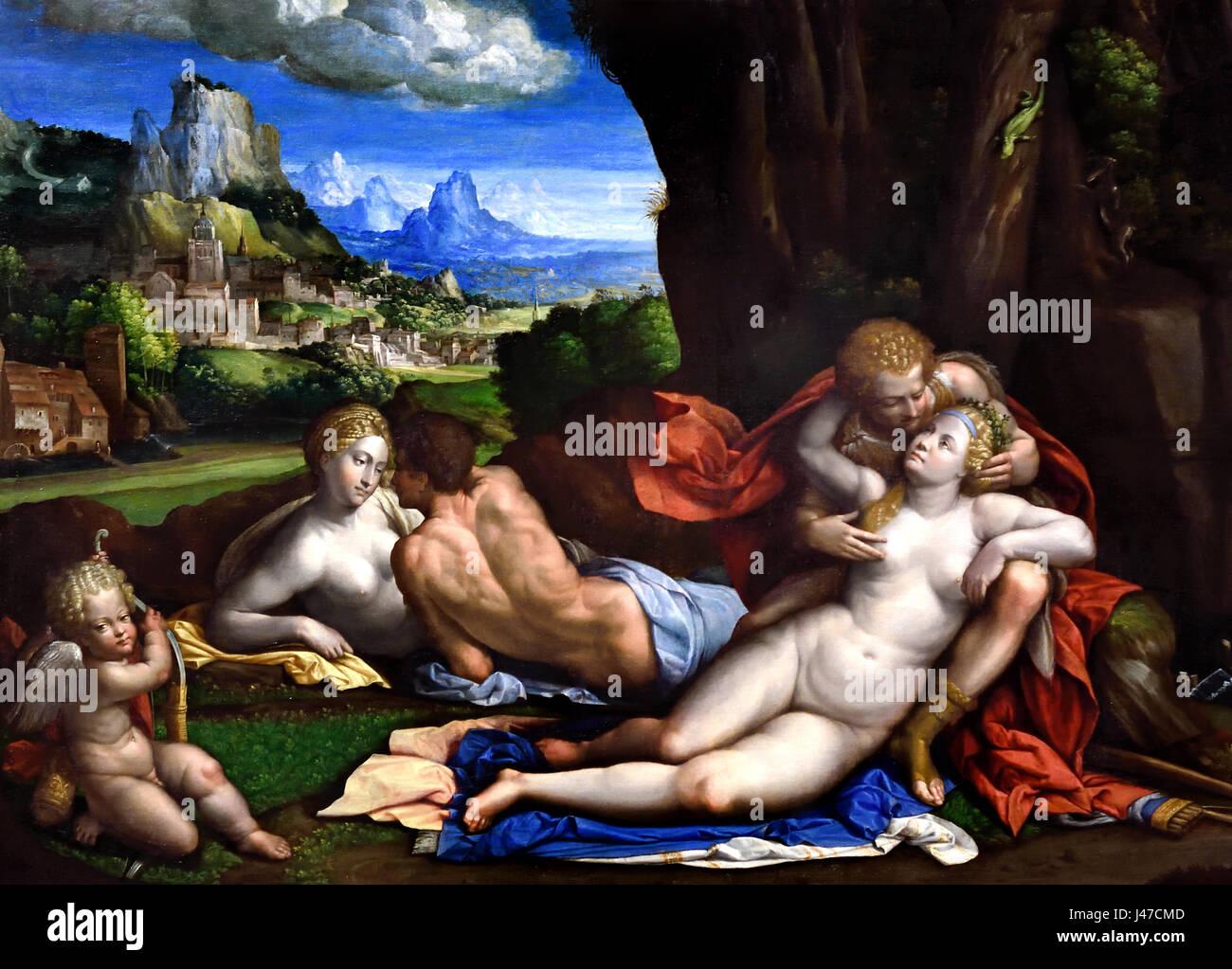 Un sacrificio pagano 1526 da Garofalo 1481 - 1559 Italia Italiano (il suo lavoro è un elaborato copia di un Immagini Stock