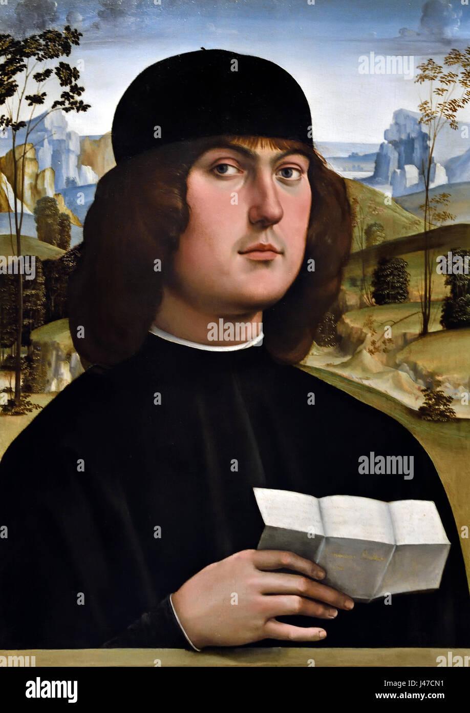 Bartolomeo Bianchini 1485-1500 da Francesco Francia 1447 - 1517 ( titolo completo Bartolomeo Bianchini ) Il sitter Immagini Stock