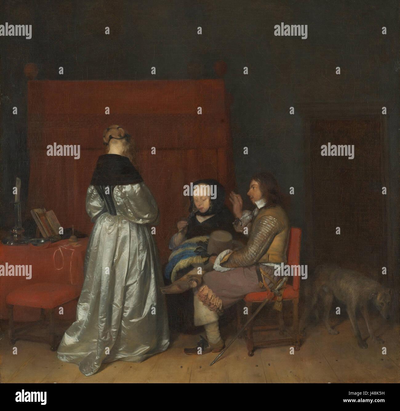 Gerard ter Borch interno con tre figure che sono in contatto gli uni con gli altri; conosciuta come 'la paterna Immagini Stock