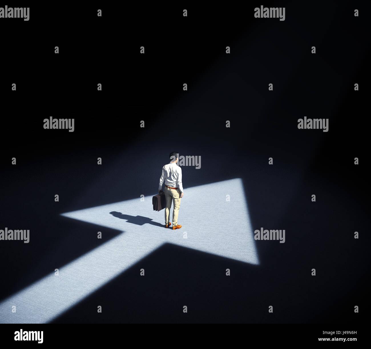 Uomo in piedi in un faretto formando un simbolo a forma di freccia - 3d illustrazione Immagini Stock