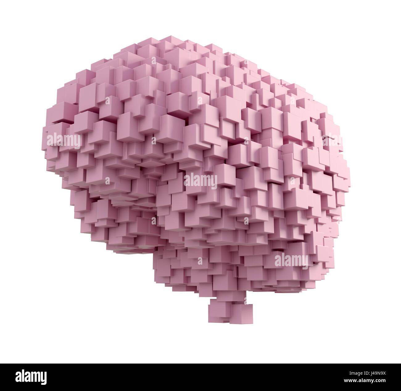 Cervello umano - intelligenza e il concetto di memoria 3D illustrazione Immagini Stock