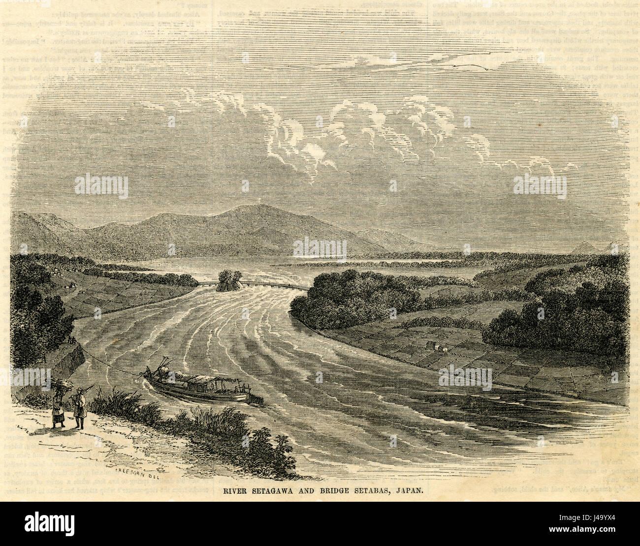 Antica incisione 1854, Fiume Seta-gawa e il lungo ponte in seta, Giappone. Il fiume Yodo, chiamato anche il fiume Immagini Stock