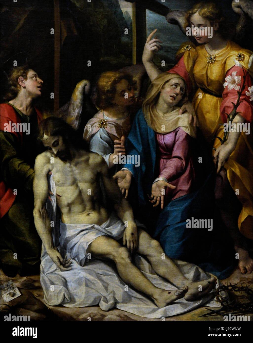 Ippolito Borguese (1568-1627). Pittore italiano del tardo Rinascimento. Pietà, 1603. Olio su tela. Museo Nazionale Immagini Stock