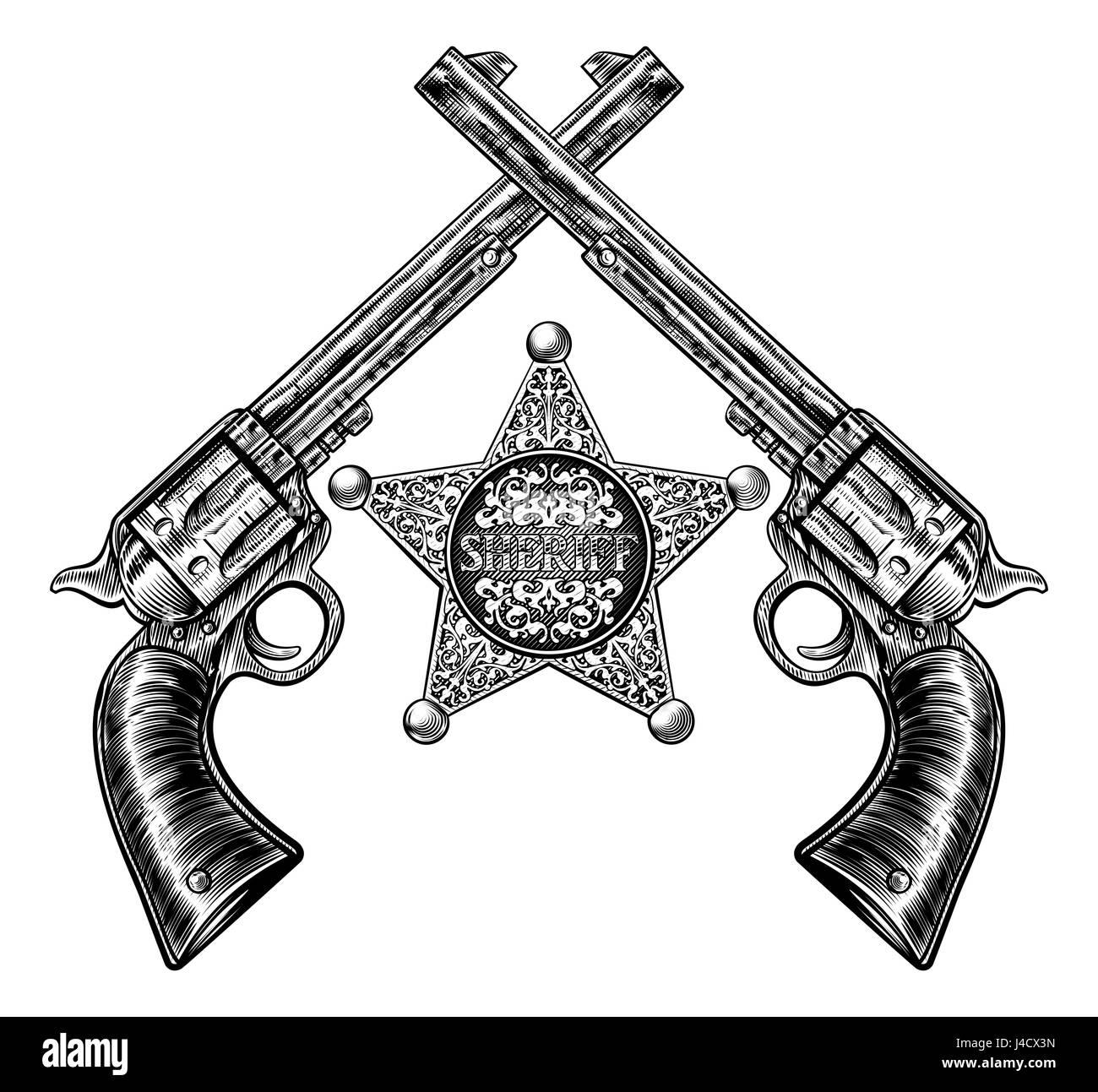 Una stella sheriff badge e coppia di attraversata revolver revolver pistole  disegnato in un vintage retrò 10d14bcf95cb