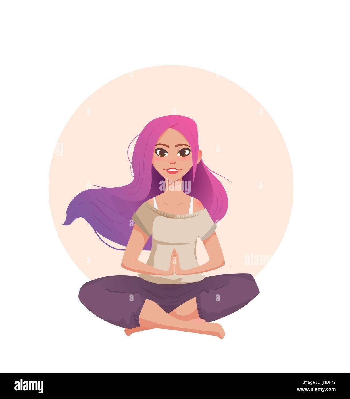 Giovane donna con capelli rosa medita nella posizione del loto