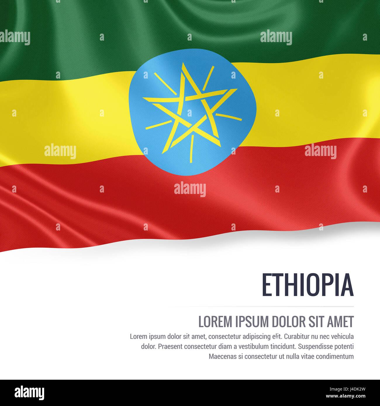 ad42820dafc861 Silky bandiera di Etiopia sventolando isolato su un fondo bianco con il  testo bianco spazio per