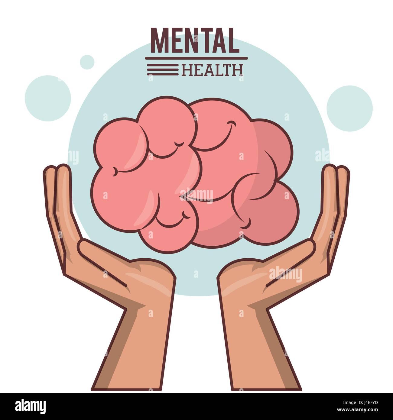 La salute mentale, la mano con il cervello umano design Immagini Stock