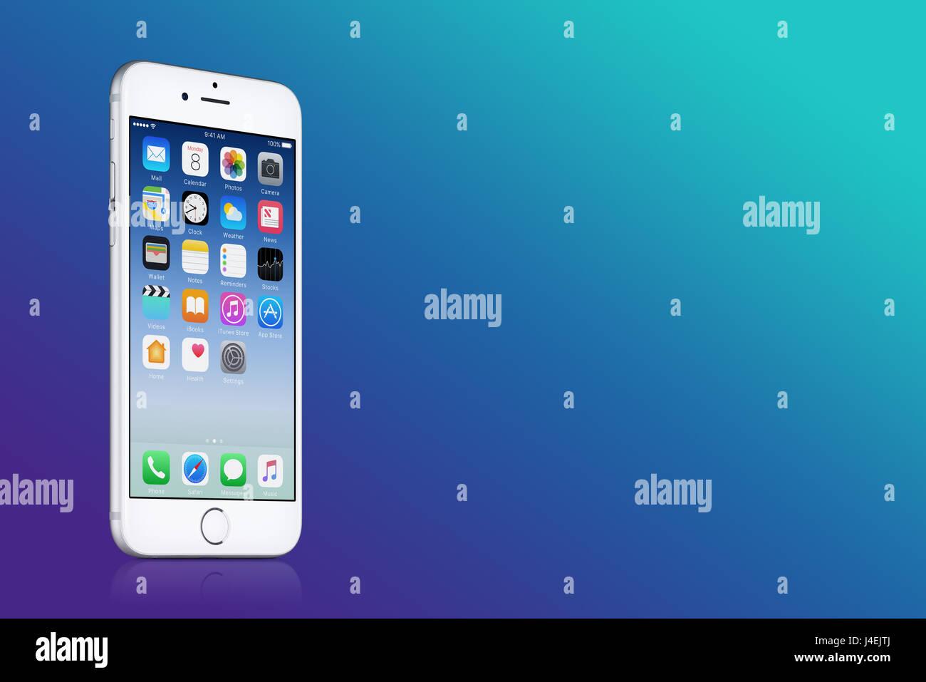 Argento Apple Iphone 7 Con Ios 10 Sullo Schermo Blu Sul Gradiente