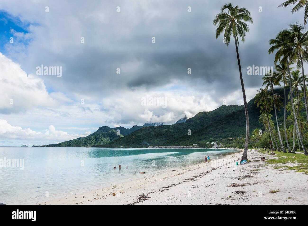 Temae spiaggia pubblica, Moorea, Isole della Società, Polinesia francese, Pacific Immagini Stock