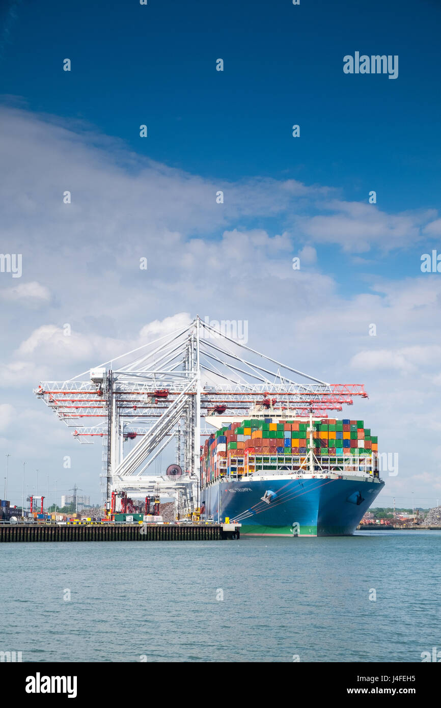MOL trionfo di portacontainer a DP World container dal porto di Southampton Docks. MOL trionfo è uno dei mondi più Foto Stock